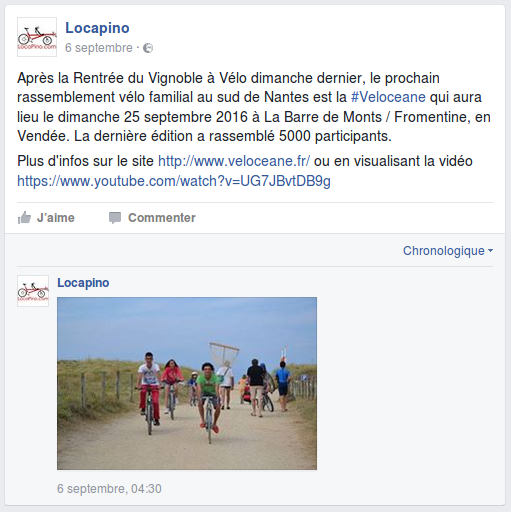 Après la Rentrée du Vignoble à Vélo dimanche dernier, le prochain rassemblement vélo familial au sud de Nantes est la #Veloceane qui aura lieu le dimanche 25 septembre 2016 à La Barre de Monts / Fromentine, en Vendée. La dernière édition a rassemblé 5000 participants. Plus d'infos sur le site http://www.veloceane.fr/ ou en visualisant la vidéo https://www.youtube.com/watch?v=UG7JBvtDB9g