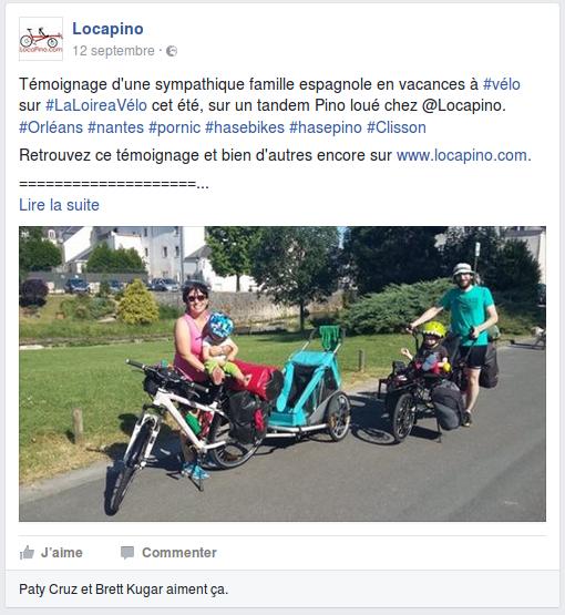 Témoignage d'une sympathique famille espagnole en vacances à #vélo sur #LaLoireaVélo cet été, sur un tandem Pino loué chez @Locapino. #Orléans #nantes #pornic #hasebikes #hasepino #Clisson Retrouvez ce témoignage et bien d'autres encore sur www.locapino.com. ==================== Ce voyage à vélo était le second que nous effectuons avec des jeunes enfants. Le premier voyage avait été facile à organiser avec un seul enfant que nous transportions dans une carriole. Cette fois, nous avions à voyager avec un premier de 4 ans et un second de 2 ans. Nous envisagions un voyage à vélo entre 10 et 14 jours qui puisse vraiment plaire à notre aîné. Les options qui s'offraient à nous étaient limitées car il était trop petit pour voyager sur son propre vélo, trop petit pour une barre suiveuse et l'idée de l'avoir sur un siège sur le porte-bagages arrière pendant aussi longtemps ne nous réjouissait guère. Nous avions identifié que le tandem Pino pouvait résoudre nos problèmes d'organisation du fait que le vélo permette de voyager avec des enfants de quasiment tout âge, même très jeunes. Mais nous avions alors identifié deux facteurs limitants : le prix d'achat du tandem en neuf et la taille du vélo, qui rend les déplacements en train difficiles. A la faveur d'une dernière recherche sur internet, nous avons découvert Locapino qui loue des tandems Pino, mais qui propose également la livraison en n'importe quel endroit en France ! Du fait que la société est basée près de Nantes, nous avons opté pour un trajet sur la Loire à Vélo. A quasi une semaine du départ, nous avons contacté Igor par email en lui demandant des détails et si un Pino était encore disponible. Coup de chance, il lui restait alors un Pino de libre. Igor nous a beaucoup aidé à construire notre périple grâce à l'expérience qu'il a acquise en voyageant avec ses propres enfants. Il nous a également aidé dans la préparation de notre voyage en train en France, avec deux jeunes enfants, un vélo et une carriole, et nous a pr