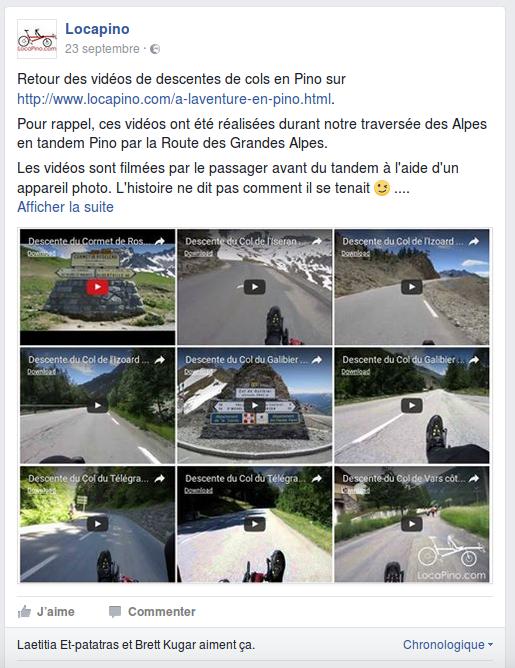 Retour des vidéos de descentes de cols en Pino sur http://www.locapino.com/a-laventure-en-pino.html. Pour rappel, ces vidéos ont été réalisées durant notre traversée des Alpes en tandem Pino par la Route des Grandes Alpes. Les vidéos sont filmées par le passager avant du tandem à l'aide d'un appareil photo. L'histoire ne dit pas comment il se tenait ;-) . Le centre de gravité abaissé du Pino et le poids de l'ensemble (le vélo, ses deux passagers, les bagages, pour un total de 200 kg environ) ont permis d'atteindre des vitesses à la limite du raisonnable pour un tandem, avec des pointes à plus de 80 km/h. Les marmottes, ce n'est pas le moment de vous prélasser sur la route, on arrive ! Pour info, à 80 km/h, la roue avant de 20 pouces tourne à 1000 tours / min :) . Nos deux coups de coeur : - la descente du Cormet de Roselend côté Bourg Saint Maurice (descente [très] rapide de 20 km), - la descente du Col de l'Iseran côté Bonneval sur Arc (14 km dans des conditions difficiles - froid, pluie et morceaux de glace sur la route). Hase Bikes, La route des grandes Alpes