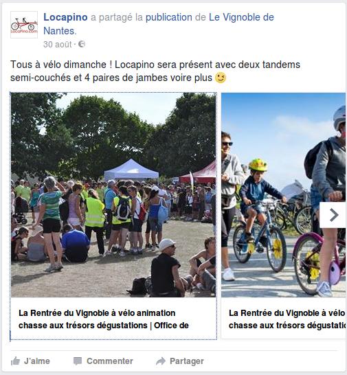 Tous à vélo dimanche ! Locapino sera présent avec deux tandems semi-couchés et 4 paires de jambes voire plus.