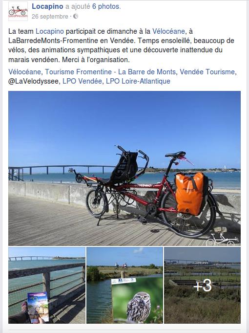La team Locapino participait ce dimanche à la Vélocéane, à LaBarredeMonts-Fromentine en Vendée. Temps ensoleillé, beaucoup de vélos, des animations sympathiques et une découverte inattendue du marais vendéen. Merci à l'organisation. Vélocéane, Tourisme Fromentine - La Barre de Monts, Vendée Tourisme, @LaVelodyssee, LPO Vendée, LPO Loire-Atlantique