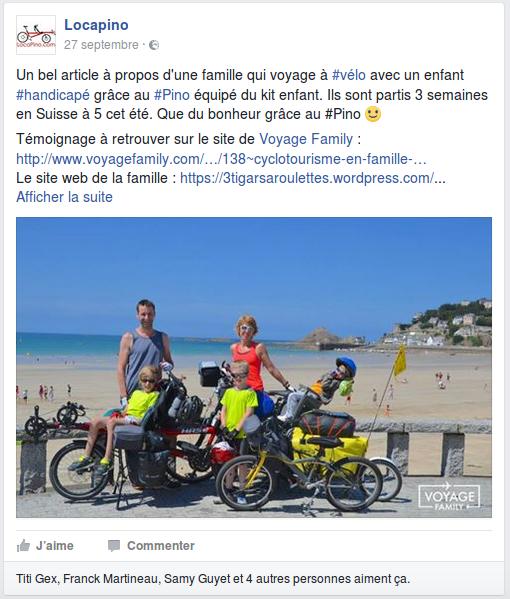 Un bel article à propos d'une famille qui voyage à #vélo avec un enfant #handicapé grâce au #Pino équipé du kit enfant. Ils sont partis 3 semaines en Suisse à 5 cet été. Que du bonheur grâce au #Pino :-) Témoignage à retrouver sur le site de Voyage Family : http://www.voyagefamily.com/…/138~cyclotourisme-en-famille-… Le site web de la famille : https://3tigarsaroulettes.wordpress.com/ Si vous souhaitez découvrir ce fabuleux vélo pour quelques heures, quelques jours ou quelques semaines, n'hésitez pas à nous contacter par mail ou DM. Hase Bikes, Locapino