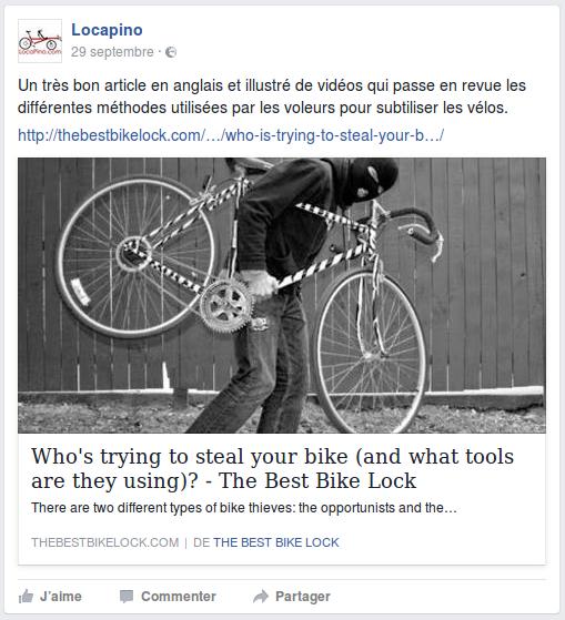 Un très bon article en anglais et illustré de vidéos qui passe en revue les différentes méthodes utilisées par les voleurs pour subtiliser les vélos. http://thebestbikelock.com/…/who-is-trying-to-steal-your-b…/