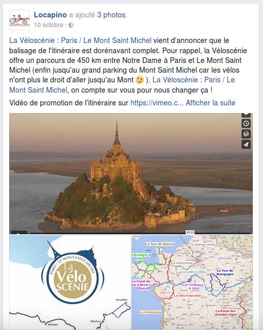La Véloscénie : Paris / Le Mont Saint Michel vient d'annoncer que le balisage de l'itinéraire est dorénavant complet. Pour rappel, la Véloscénie offre un parcours de 450 km entre Notre Dame à Paris et Le Mont Saint Michel (enfin jusqu'au grand parking du Mont Saint Michel car les vélos n'ont plus le droit d'aller jusqu'au Mont ;-) ). La Véloscénie : Paris / Le Mont Saint Michel, on compte sur vous pour nous changer ça ! Vidéo de promotion de l'itinéraire sur https://vimeo.com/72818826 Selon votre mode de voyage et la composition du groupe, faire l'itinéraire complet en rando #Vélo vous prendra entre 6 et 10 jours. Une bonne idée à programmer pour 2017 :-) Pour ceux qui ont du temps, Locapino vous recommande l'enchaînement d'itinéraires suivant : Paris -> Domfront par la Véloscénie (350 km), Domfront -> Angers par la Vélo Francette (200 km), Angers -> Orléans par la Loire à Vélo (290 km), et Orléans -> Paris par le Canal d'Orléans, la vallée du Loing et la vallée de la Seine (260 km, itinéraire Eurovélo 3). Un petit tour en boucle de 1100 km et 3 semaines en tout confort grâce au Pino par Hase Bikes :-). Bien sûr, vous pouvez partir de n'importe quel point sur le parcours, on vous livre où vous le souhaitez :-) Ou pour ceux qui apprécient les fruits de mer et le caramel au beurre salé et qui ont 3 semaines devant eux : Paris -> Le Mont Saint Michel par la Véloscénie (450 km), Le Mont Saint Michel -> Morlaix par le Grand Tour de Manche (400 km), Morlaix -> #Nantes par le Canal de Nantes à Brest (360 km). Livraison du Pino à Paris, à Nantes ou sur tout autre point de l'itinéraire pour ce 1200 km bien sympathique. Pour visualiser ces itinéraires sur une carte, rendez vous sur le site www.locapino.com, rubrique 'Idées de voyage'. Fan de La Loire à Vélo, Le Tour de Manche à vélo, EuroVelo 6, EuroVelo, France Vélo Tourisme