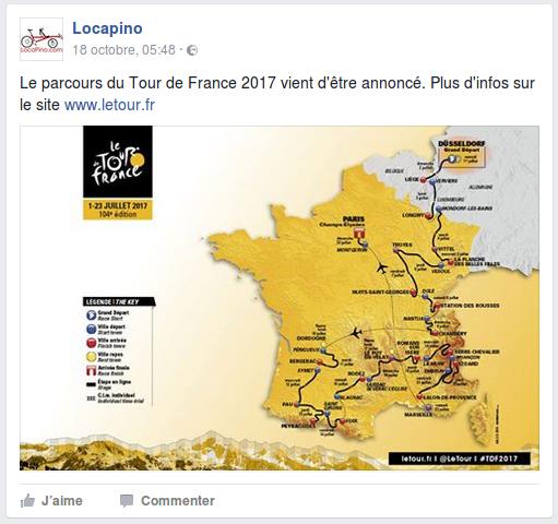 Le parcours du Tour de France 2017 vient d'être annoncé. Plus d'infos sur le site www.letour.fr