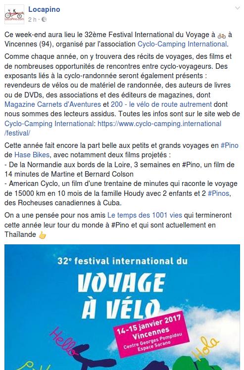 Ce week-end aura lieu le 32ème Festival International du Voyage à 🚲 à Vincennes (94), organisé par l'association Cyclo-Camping International. Comme chaque année, on y trouvera des récits de voyages, des films et de nombreuses opportunités de rencontres entre cyclo-voyageurs. Des exposants liés à la cyclo-randonnée seront également présents : revendeurs de vélos ou de matériel de randonnée, des auteurs de livres ou de DVDs, des associations et des éditeurs de magazines, dont Magazine Carnets d'Aventures et 200 - le vélo de route autrement dont nous sommes des lecteurs assidus. Toutes les infos sont sur le site web de Cyclo-Camping International: https://www.cyclo-camping.international/festival/. Cette année fait encore la part belle aux petits et grands voyages en #Pino de Hase Bikes, avec notamment deux films projetés : - De la Normandie aux bords de la Loire, 3 semaines en #Pino, un film de 14 minutes de Martine et Bernard Colson. - American Cyclo, un film d'une trentaine de minutes qui raconte le voyage de 15000 km en 10 mois de la famille Houdy avec 2 enfants et 2 #Pinos, des Rocheuses canadiennes à Cuba. On a une pensée pour nos amis Le temps des 1001 vies qui termineront cette année leur tour du monde à #Pino et qui sont actuellement en Thaïlande