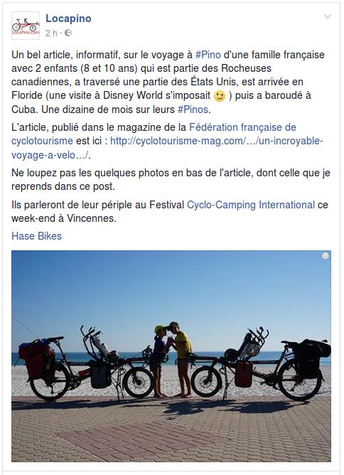 Un bel article, informatif, sur le voyage à #Pino d'une famille française avec 2 enfants (8 et 10 ans) qui est partie des Rocheuses canadiennes, a traversé une partie des États Unis, est arrivée en Floride (une visite à Disney World s'imposait ;-) ) puis a baroudé à Cuba. Une dizaine de mois sur leurs #Pinos. L'article, publié dans le magazine de la Fédération française de cyclotourisme est ici : http://cyclotourisme-mag.com/…/un-incroyable-voyage-a-velo…/. Ne loupez pas les quelques photos en bas de l'article, dont celle que je reprends dans ce post.  Ils parleront de leur périple au Festival Cyclo-Camping International ce week-end à Vincennes. Hase Bikes