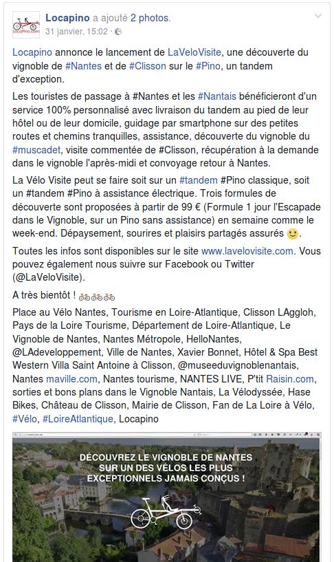Locapino annonce le lancement de LaVeloVisite, une découverte du vignoble de #Nantes et de #Clisson sur le #Pino, un tandem d'exception. Les touristes de passage à #Nantes et les #Nantais bénéficieront d'un service 100% personnalisé avec livraison du tandem au pied de leur hôtel ou de leur domicile, guidage par smartphone sur des petites routes et chemins tranquilles, assistance, découverte du vignoble du #muscadet, visite commentée de #Clisson, récupération à la demande dans le vignoble l'après-midi et convoyage retour à Nantes. La Vélo Visite peut se faire soit sur un #tandem #Pino classique, soit un #tandem #Pino à assistance électrique. Trois formules de découverte sont proposées à partir de 99 € (Formule 1 jour l'Escapade dans le Vignoble, sur un Pino sans assistance) en semaine comme le week-end. Dépaysement, sourires et plaisirs partagés assurés 🙂. Toutes les infos sont disponibles sur le site www.lavelovisite.com. Vous pouvez également nous suivre sur Facebook ou Twitter (@LaVeloVisite). A très bientôt ! 🚲🚲🚲 Place au Vélo Nantes, Tourisme en Loire-Atlantique, Clisson LAggloh, Pays de la Loire Tourisme, Département de Loire-Atlantique, Le Vignoble de Nantes, Nantes Métropole, HelloNantes, @LAdeveloppement, Ville de Nantes, Xavier Bonnet, Hôtel & Spa Best Western Villa Saint Antoine à Clisson, @museeduvignoblenantais, Nantes maville.com, Nantes tourisme, NANTES LIVE, P'tit Raisin.com, sorties et bons plans dans le Vignoble Nantais, La Vélodyssée, Hase Bikes, Château de Clisson, Mairie de Clisson, Fan de La Loire à Vélo, #Vélo, #LoireAtlantique, Locapino