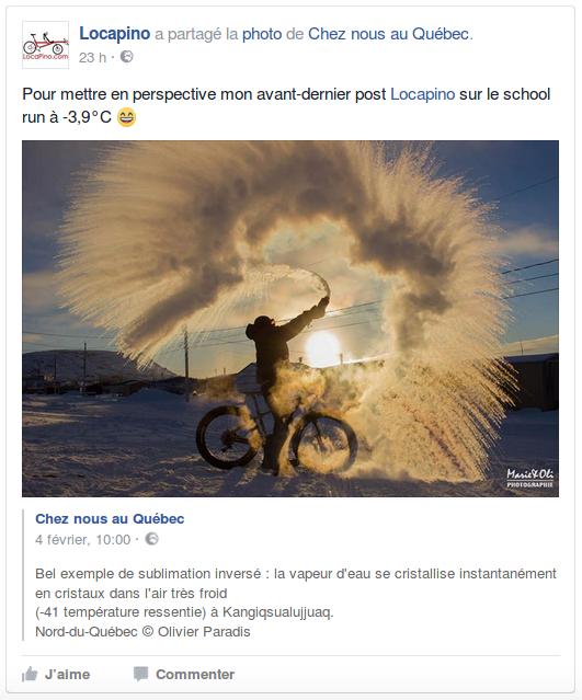Pour mettre en perspective mon avant-dernier post Locapino sur le school run à -3,9°C