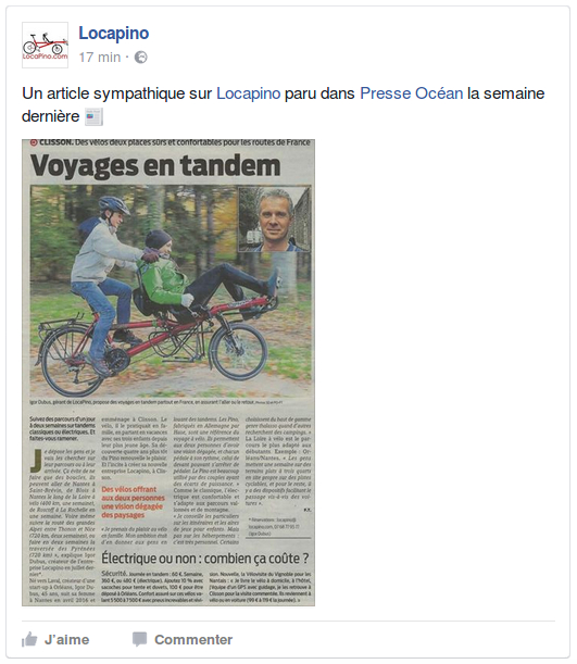 Un article sympathique sur Locapino paru dans Presse Océan la semaine dernière