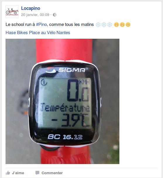 Le school run à #Pino, comme tous les matins ❄️❄️❄️ 🌞🌞🌞 Hase Bikes Place au Vélo Nantes