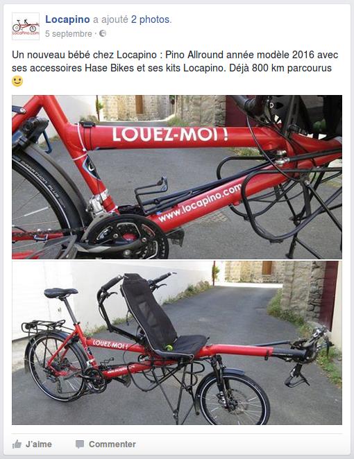 Un nouveau bébé chez Locapino : Pino Allround année modèle 2016 avec ses accessoires Hase Bikes et ses kits Locapino. Déjà 800 km parcourus.