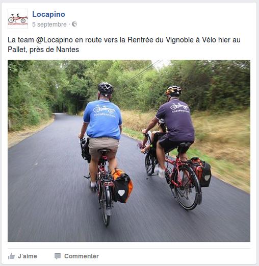 La team @Locapino en route vers la Rentrée du Vignoble à Vélo hier au Pallet, près de Nantes
