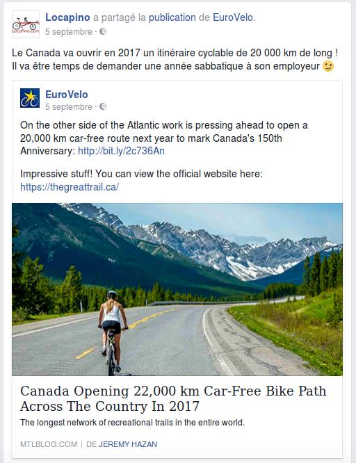 Le Canada va ouvrir en 2017 un itinéraire cyclable de 20 000 km de long ! Il va être temps de demander une année sabbatique à son employeur.