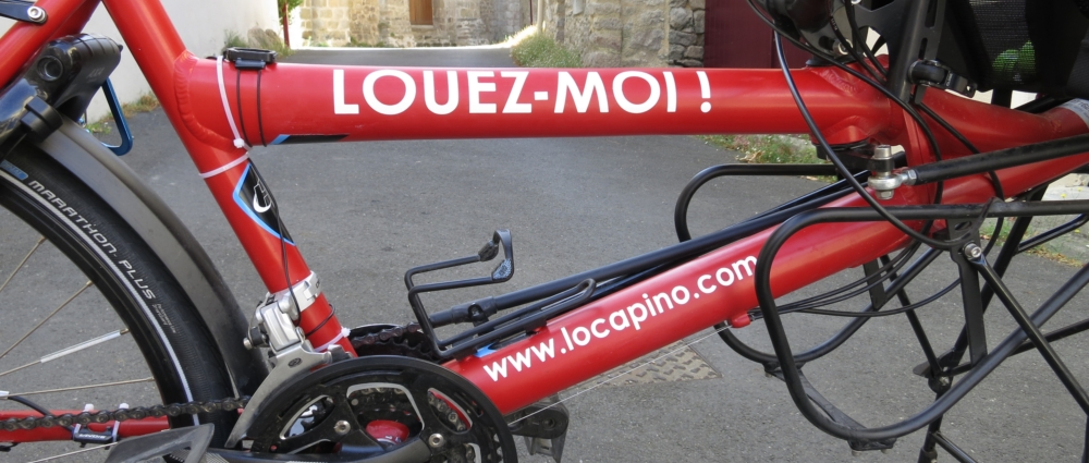 A Pino tandem from Hase Bikes with a Rent me / Hire me label on it