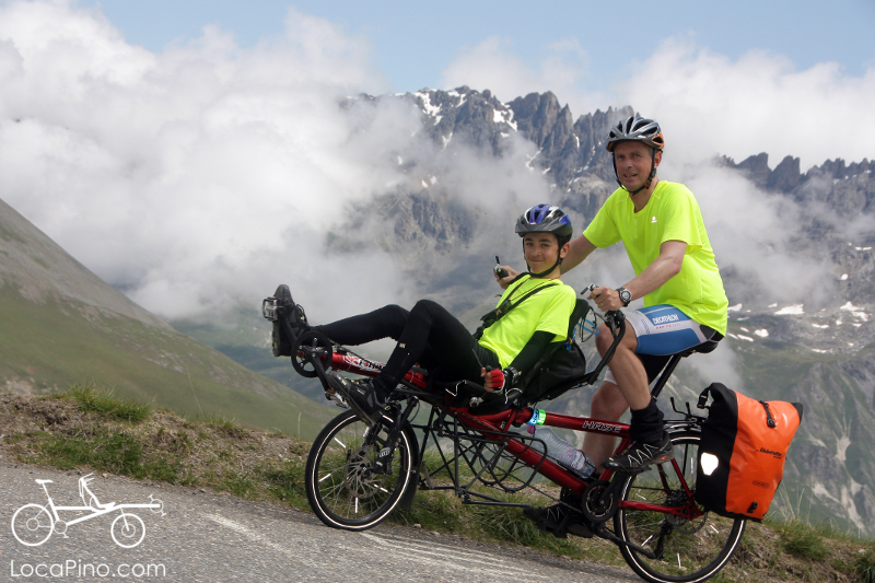 A Hasebikes tandem bicycle climbing the col du Galibier in the Alps, shortly after the col du Telegraphe