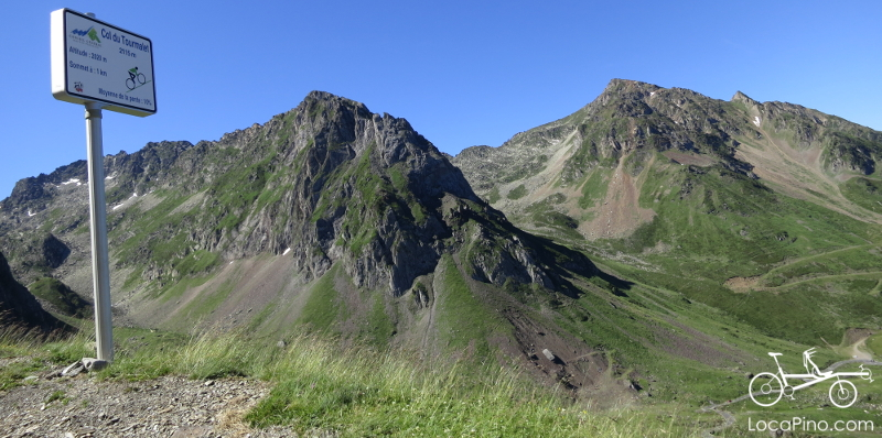 Landscape and view from the Col du Tourmalet when crossing the Pyrenees on a Pino tandem bicycle