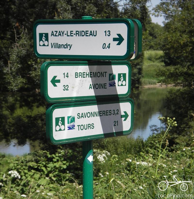 Panneau indicateur de la Loire à Vélo à proximité de Villandry