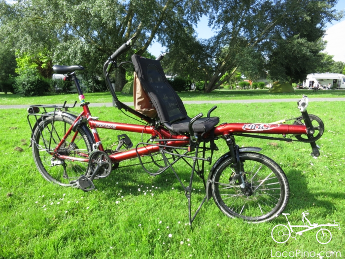 A Hase Pino semi recumbent tandem bike in the grass at the camp site of Saint Avertin near Tours in France, on the Loire à Vélo