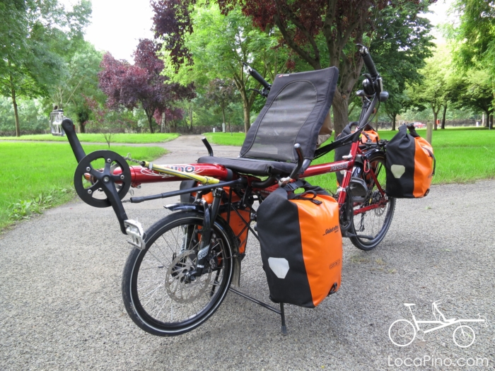 A Hase Pino tandem bike loaded with Ortlien panniers in a camp site in France