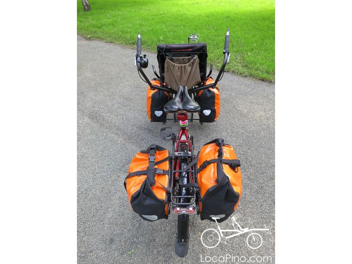 Bird view of a Hase Pino tandem bike loaded for bicycle touring / bikepacking